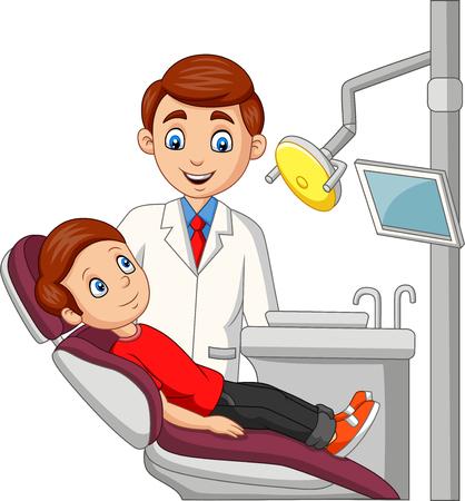 Illustration vectorielle de dessin animé petit garçon dans le bureau du dentiste