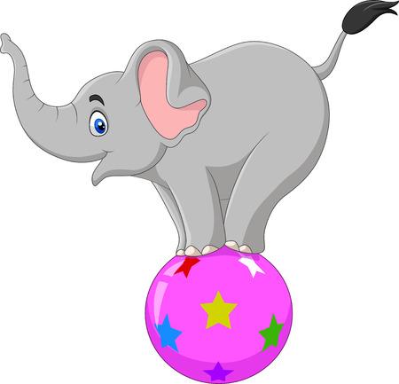 Vector illustration of Cartoon circus elephant standing on a ball