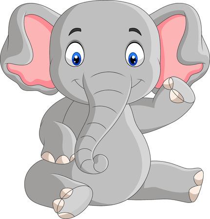 Vector illustration of Cartoon cute baby elephant sitting