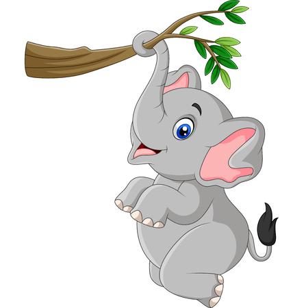 Ilustración de vector de elefante divertido de dibujos animados jugando en una rama de árbol
