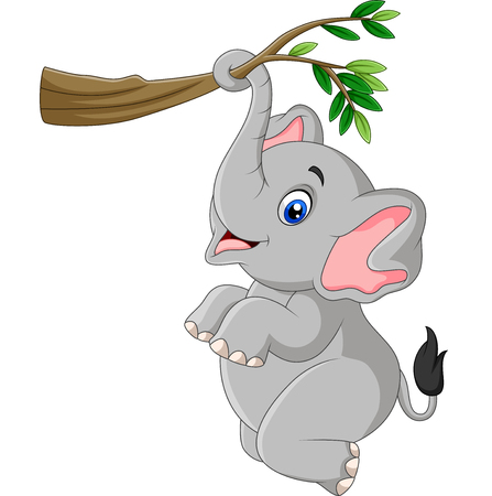 Vector illustration of Cartoon funny elephant playing on a tree branch