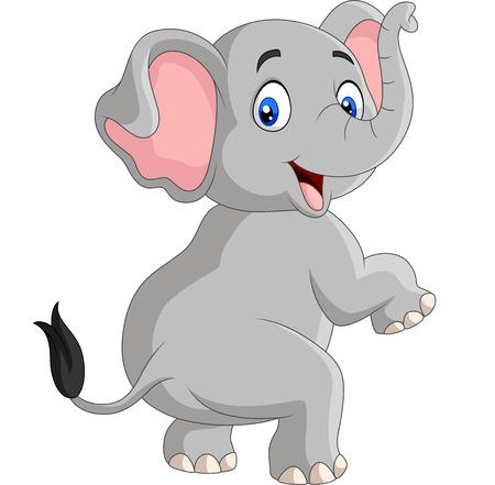 Illustration vectorielle d'éléphant drôle de dessin animé isolé sur fond blanc Vecteurs
