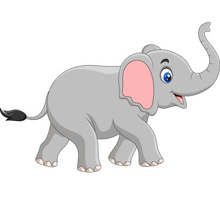 Ilustración de vector de elefante de dibujos animados aislado sobre fondo blanco