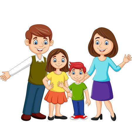 Illustrazione vettoriale della famiglia felice dei cartoni animati su sfondo bianco Vettoriali