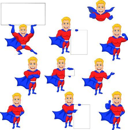 Vector illustration of Set of superhero cartoon with blank sign