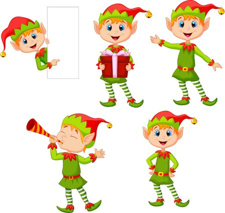 Vector illustration of Set of cartoon elves boy isolated white background Ilustração