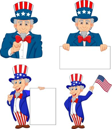 Vector illustration of Set of cartoon uncle Sams in different poses