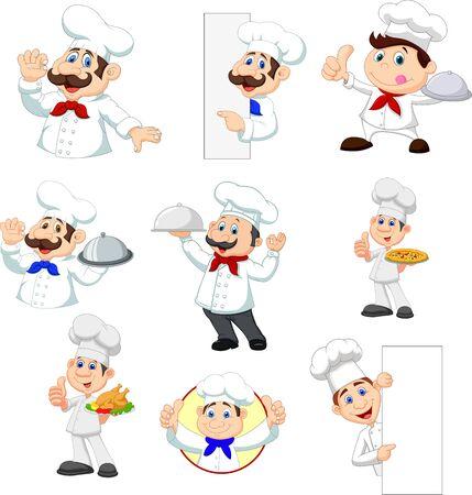 Vector illustration of Set of cartoon chef on white background Ilustração