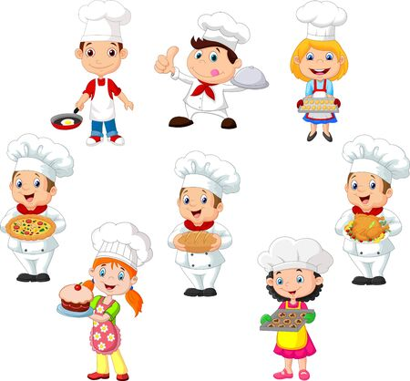 Vector illustration of Collection of children cook chef on white background 向量圖像