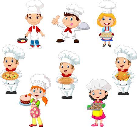 Vector illustration of Collection of children cook chef on white background Ilustração