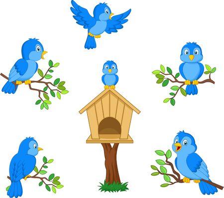 Vector illustration of Set of cartoon blue bird on white background