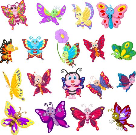 Vector illustration of Set of cartoon butterflies on white background
