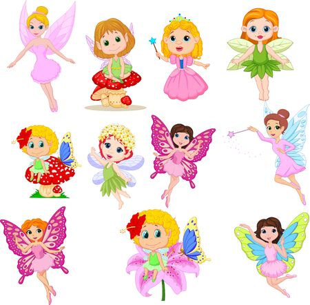 Vector illustration of Set of cute beautiful fairies cartoon isolated on a white background