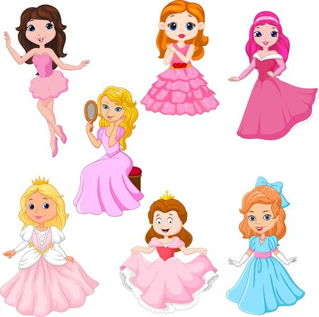 Vector illustration of Set of cute cartoon princesses isolated on white background
