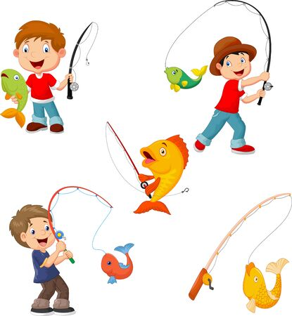 Set of little boys fishing Vektorové ilustrace