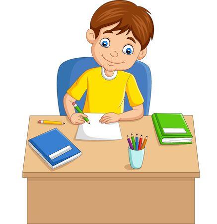 Cartoon little boy studying on the table Иллюстрация