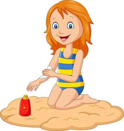 Petite fille en maillot de bain appliquant une crème solaire sur son bras
