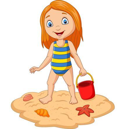 Cartoon girl holding bucket sand at tropical beach Иллюстрация