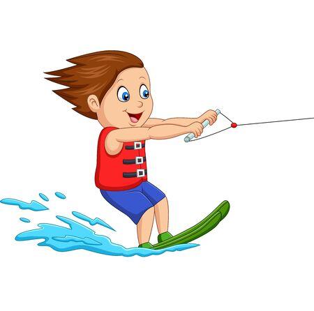 Cartoon boy playing water ski Иллюстрация