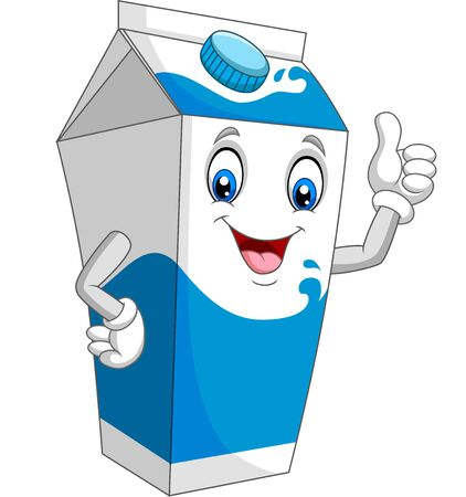 Cartoon milk box giving thumb up Иллюстрация