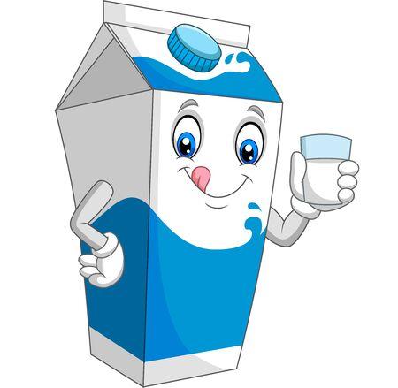 Cartoon milk box holding a glass of milk Иллюстрация