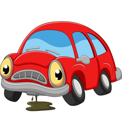 Cartoon red car sad in need of repair