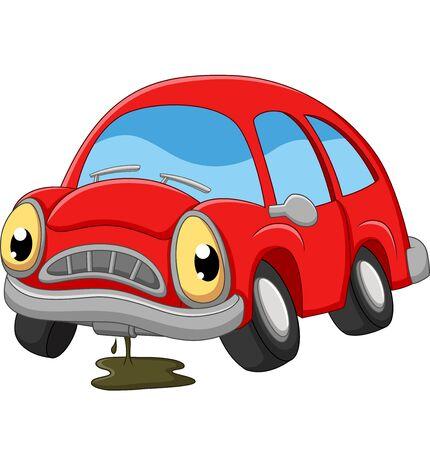 Kreskówka czerwony samochód smutny wymaga naprawy