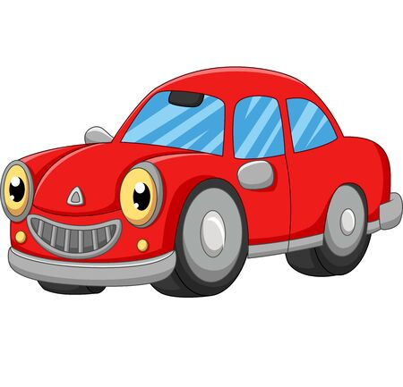 Smiling red car cartoon on white