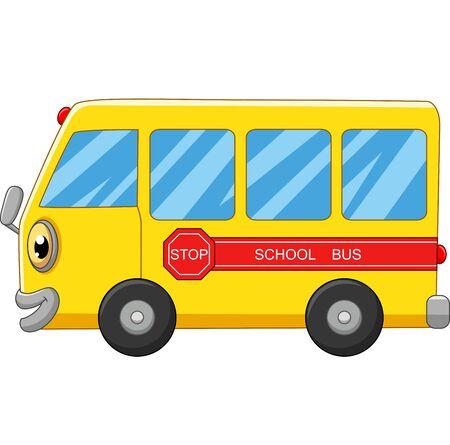 Caricature de bus scolaire jaune sur blanc