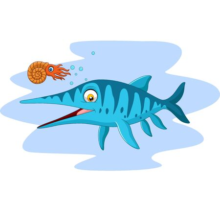 Cartoon smiling ichthyosaurus and nautilus
