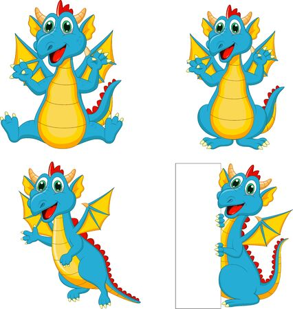 Set of cartoon dragons with blank sign
