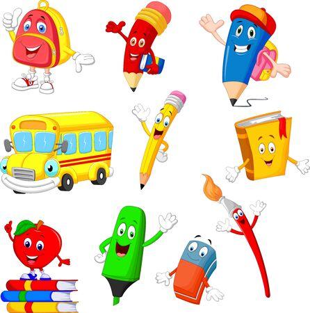 Cartoon school supplies collection set Иллюстрация