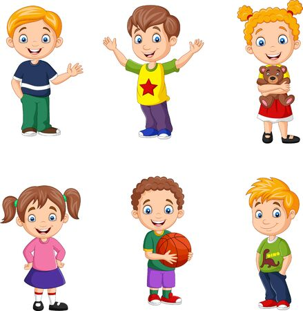 Vector illustration of Happy little kids collection set Иллюстрация