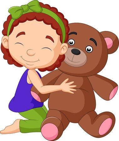 Vector illustration of Cartoon little girl hugging teddy bear Иллюстрация