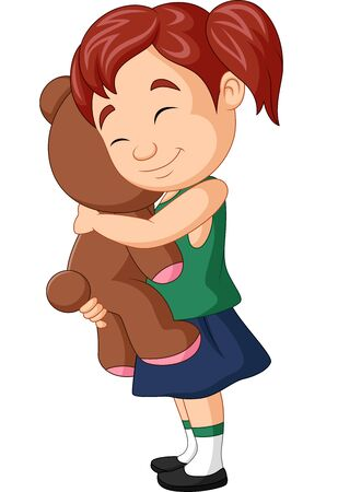 Vector illustration of Cartoon little girl hugging teddy bear Иллюстрация