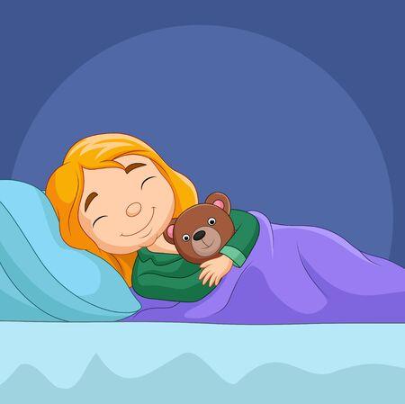Vector illustration of Cartoon little girl sleeping with stuffed bear
