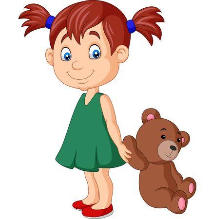 Vector illustration of Cartoon little girl with teddy bear Иллюстрация