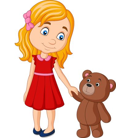 Vector illustration of Cartoon little girl with teddy bear holding hand together