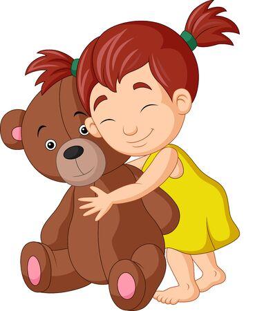 Vector illustration of Cartoon little girl hugging teddy bear Illustration