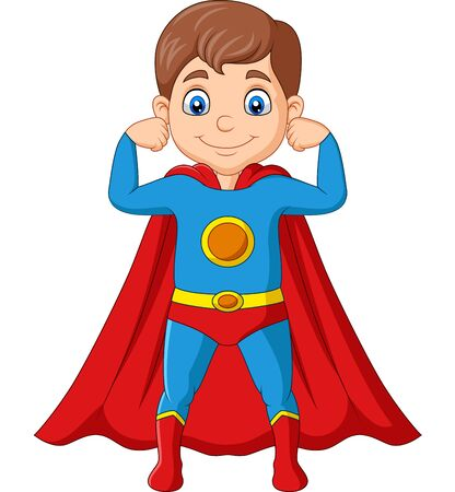 Vector illustration of Cartoon happy superhero boy posing