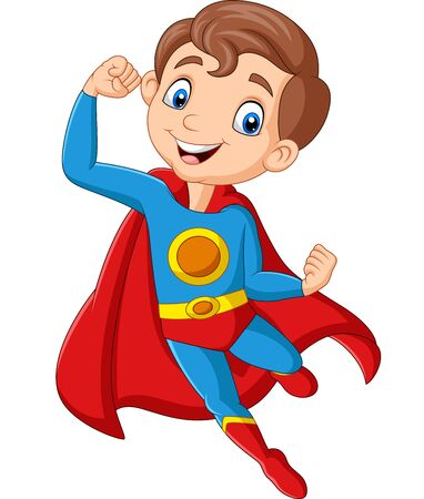 Vector illustration of Cartoon happy superhero boy posing