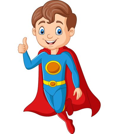 Vector illustration of Cartoon superhero boy gives thumb up Иллюстрация