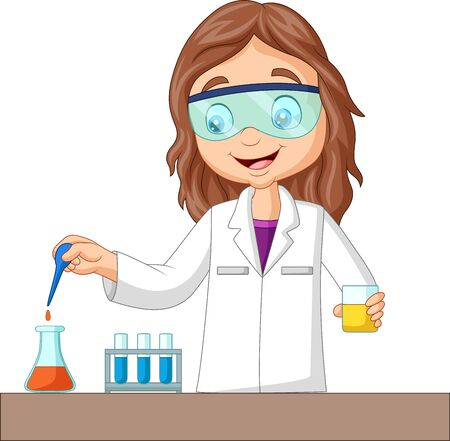 Vector illustration of Cartoon girl doing chemical experiment