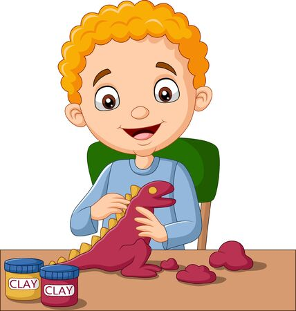 Vector illustration of Cute little boy making dinosaur from clay