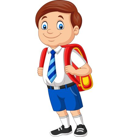 Vector illustration of Cartoon school boy in uniform with backpack