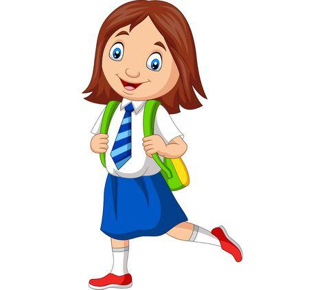 Vector illustration of Cartoon school girl in uniform posing