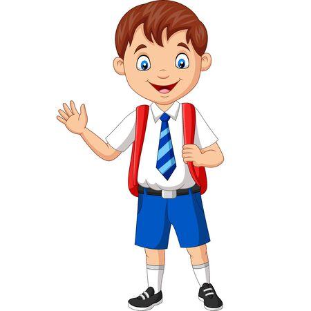Vector illustration of Cartoon school boy in uniform waving hand Иллюстрация