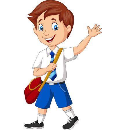 Vector illustration of Cartoon school boy in uniform waving