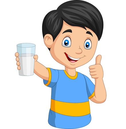 Vector illustration of Cartoon little boy with a glass of milk giving thumb up Иллюстрация