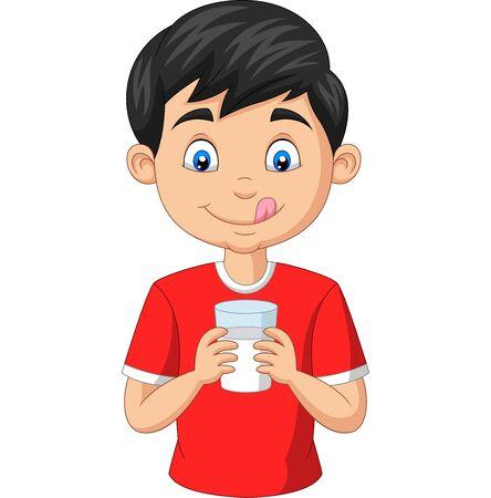 Vector illustration of Cartoon little boy holding a glass of milk